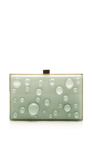 Mint Small Bubbles Plexi Clutch by ELIE SAAB for Preorder on Moda Operandi