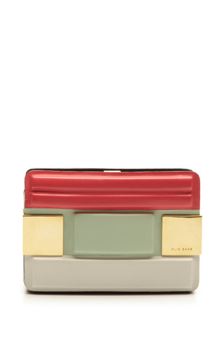 Small Tricolor Clutch With Quilt Detail In Begonia by ELIE SAAB for Preorder on Moda Operandi