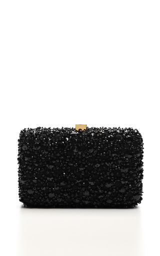 Medium elie saab black black small embroidery clutch