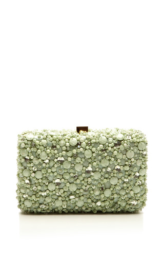 Medium elie saab light green mint small embroidery clutch