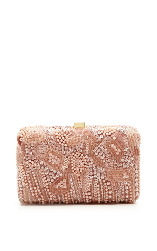 Medium elie saab pink blush small embroidery clutch