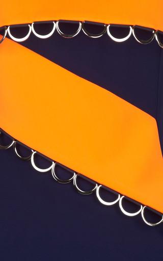 Bonded Tailor Navy Blue And Neon Orange Dress by MUGLER for Preorder on Moda Operandi