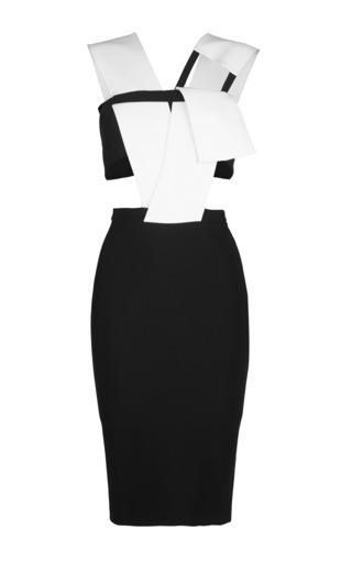 Medium mugler white mega milano black and off white dress