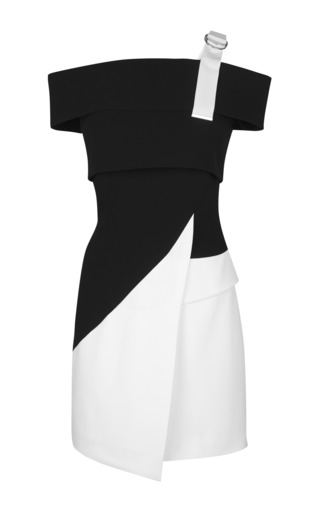 Medium mugler multi fitted cady black and off white dress