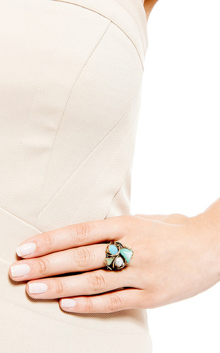 One Of A Kind 12 K Gold And Silver Ring With Pearl And Opals by SANDRA DINI for Preorder on Moda Operandi