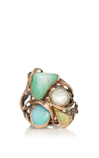 Medium sandra dini off white one of a kind 12k gold and silver ring with pearl and opals