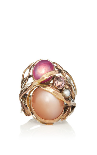 One Of A Kind 12 K Gold Ring With Pink Moonstone, Pink Ruby, And Pearl by SANDRA DINI for Preorder on Moda Operandi