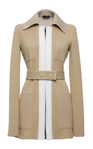 Beige Knit Rib Zip Front Jacket by CALVIN KLEIN COLLECTION for Preorder on Moda Operandi