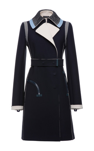 Navy And White Scuba Viscose Crepe Double Breasted Trench by CALVIN KLEIN COLLECTION for Preorder on Moda Operandi