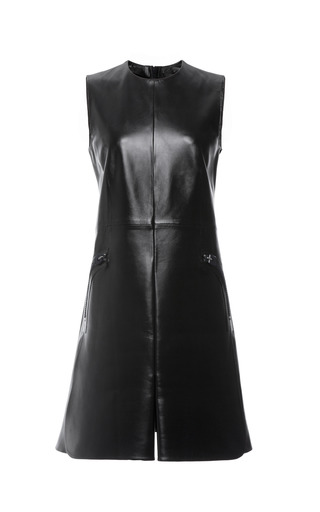 Black Textured Leather Sleeveless Dress by CALVIN KLEIN COLLECTION for Preorder on Moda Operandi