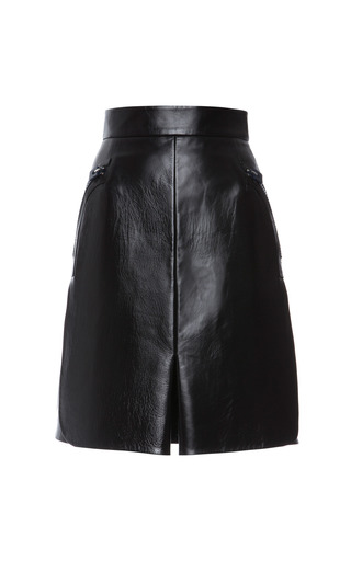 Black Textured Leather Skirt by CALVIN KLEIN COLLECTION for Preorder on Moda Operandi