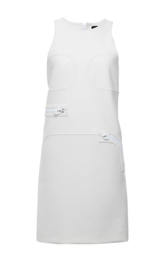 White Stretch Twill Sleeveless Dress by CALVIN KLEIN COLLECTION for Preorder on Moda Operandi