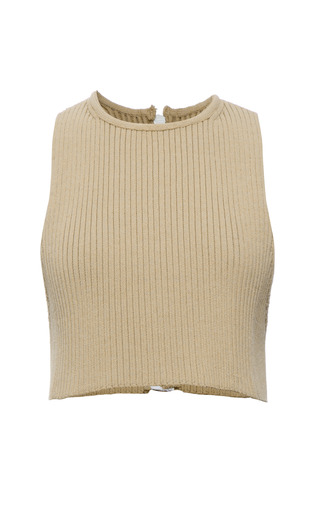 Wheat Knit Rib Sleeveless T Shirt by CALVIN KLEIN COLLECTION for Preorder on Moda Operandi