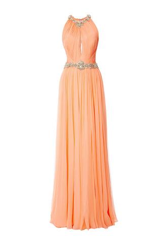 Medium marchesa orange sorbet sleeveless pleated chiffon gown