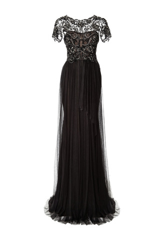 Medium marchesa black black embroidered bodice gown with tulle skirt