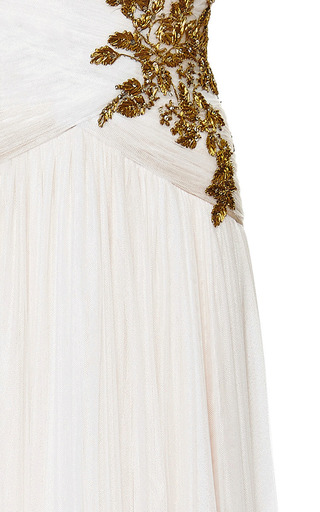 Ivory Chiffon Embroidered Bodice Gown by MARCHESA for Preorder on Moda Operandi