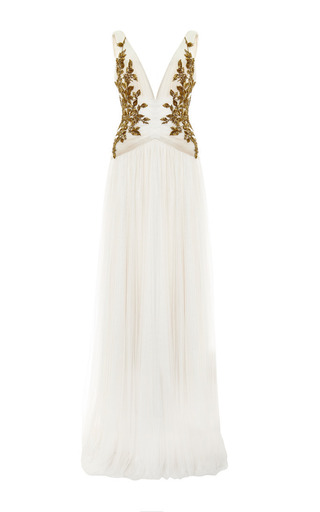 Medium marchesa ivory ivory chiffon embroidered bodice gown