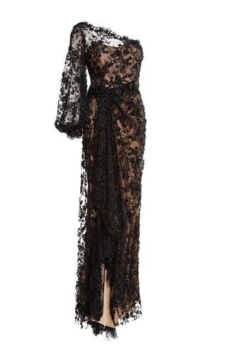 Medium marchesa black black re embroidered one shoulder gown