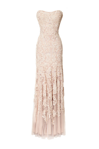 Medium marchesa pink blush chiffon gown with corded floral embroidery