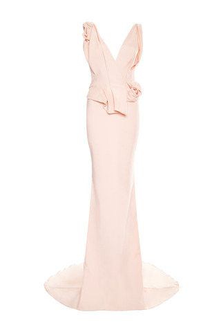 Medium marchesa coral pale coral crepe column gown