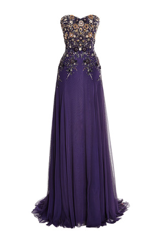 Medium marchesa purple violet perfume tulle gown with embroidered bodice