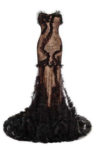 Medium marchesa black strapless lace mermaid gown
