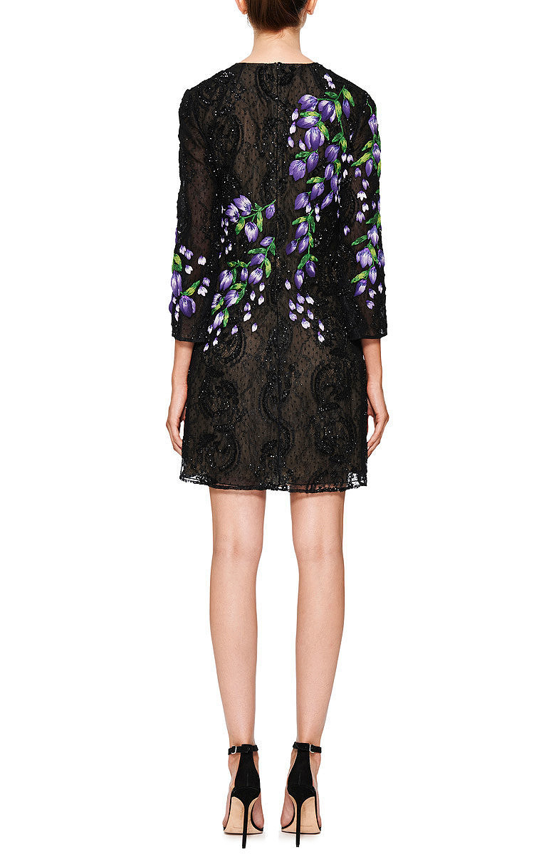 Floral embroidered lace cocktail dress by marchesa moda