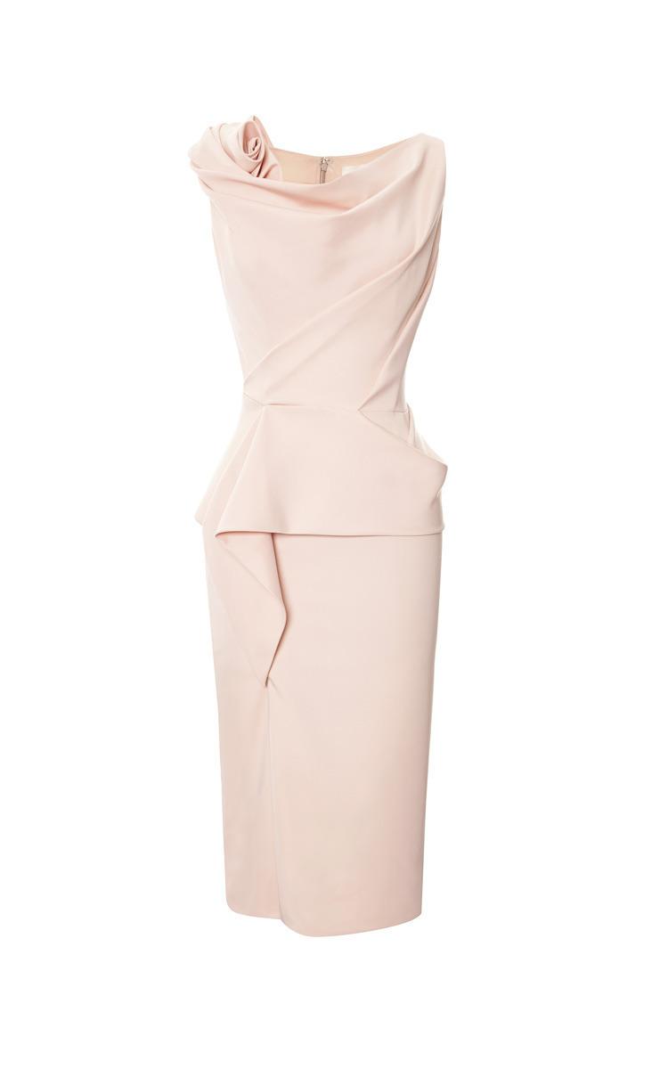 Pale Coral Peplum Cocktail Dress by Marchesa | Moda Operandi