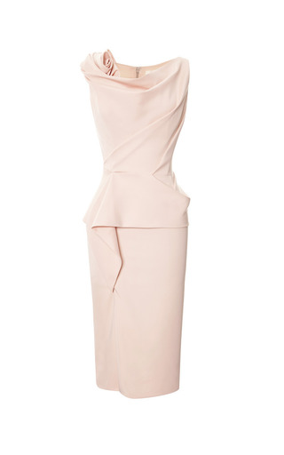 Medium marchesa coral pale coral peplum cocktail dress