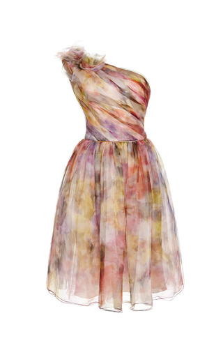 Medium marchesa floral floral print one shoulder cocktail dress
