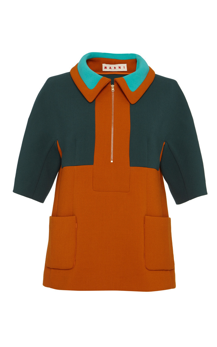 c89185ac Color-Block Bonded Wool Jersey Polo Top by Marni | Moda Operandi