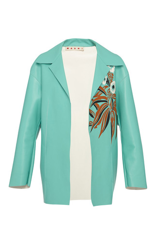 Medium marni blue bonded leather jacket with floral detail