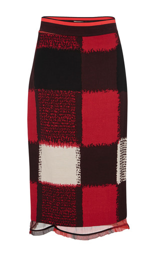 Medium marni red red chalk squares pencil skirt