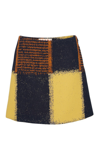 Medium marni multi yellow chalk squares mini skirt