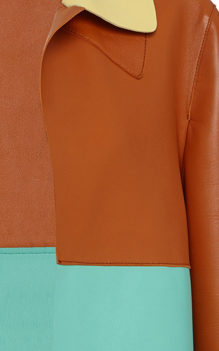 Color Blocked Leather Duster Coat by MARNI for Preorder on Moda Operandi