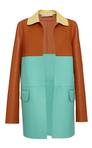 Medium marni multi color blocked leather duster coat