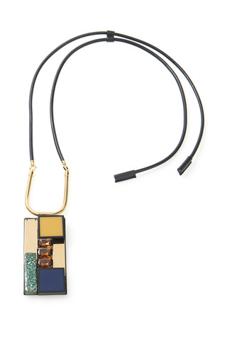 Medium marni multi leather covered necklace with stone pendant
