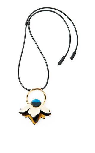 Medium marni black leather single flower pendant necklace