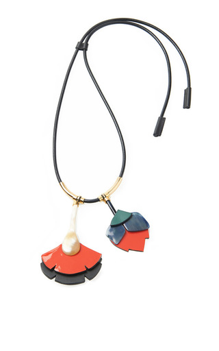 gold marni tone pp shopping leather qlhm and necklace horn in