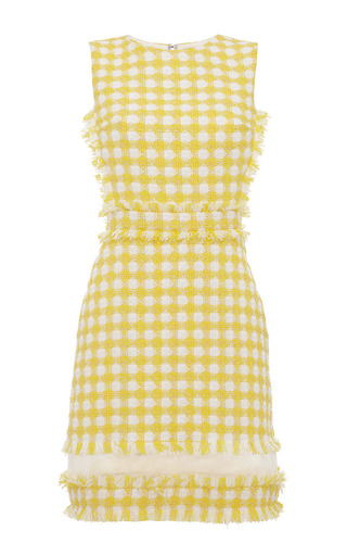 Medium msgm yellow yellow check sheath dress