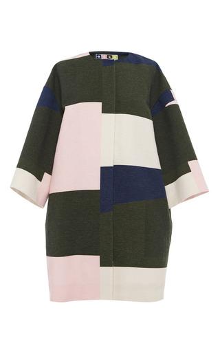 Medium msgm multi color blocked cotton duster coat