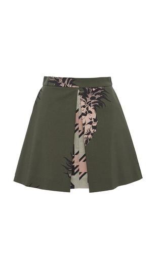 Medium msgm print olive green pineapple mini skirt