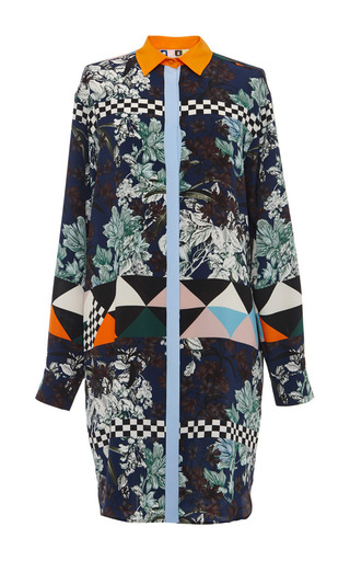 Medium msgm multi optical vintage floral silk shirt dress