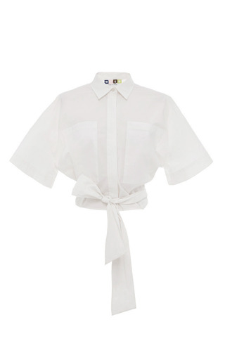 Medium msgm white white cotton tie front shirt