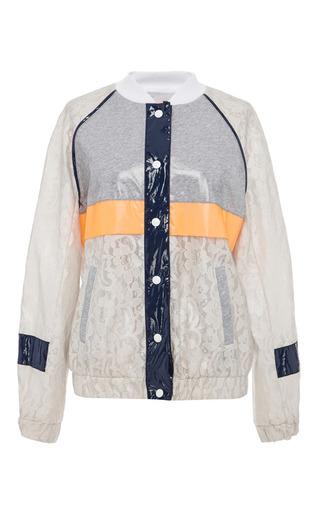 Medium msgm multi laminated jersey lace bomber jacket