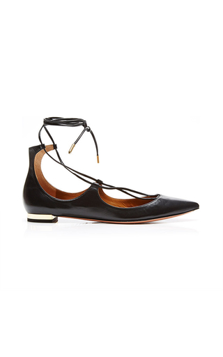 Christy Leather Pointed Toe Flats by AQUAZZURA Now Available on Moda Operandi