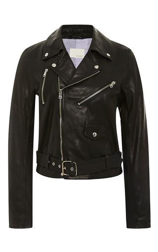 Medium band of outsiders black leather multi zipper moto jacket