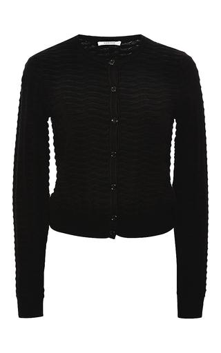 Medium carven black relief knit cardigan