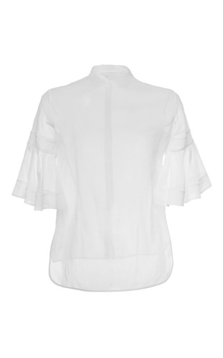 Collarless Fluted Sleeve Top by ANTONIO BERARDI for Preorder on Moda Operandi