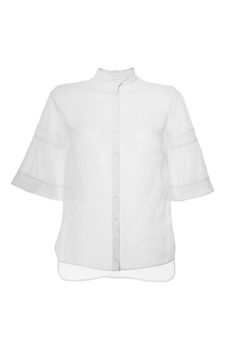 Medium antonio berardi white collarless fluted sleeve top